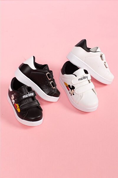 Çocuk Siyah - Beyaz Bantlı Günlük Spor Ayakkabı 2 Li
