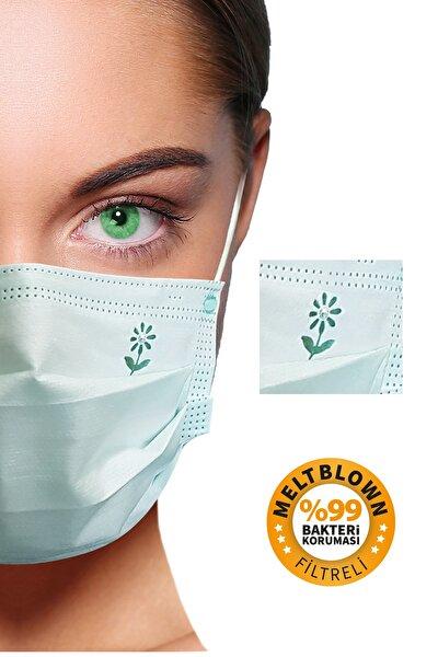 Diamond Green 3 Katlı Meltblown Filtreli 50 Adet (ÇİÇEK LOGOLU) Kokusuz Cerrahi Maske