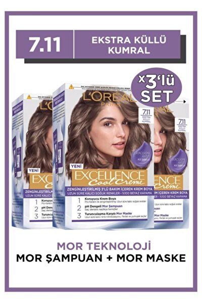 L'oréal Paris Excellence Cool Creme Saç Boyası – 7.11 Ekstra Küllü Kumral 3'lü Set