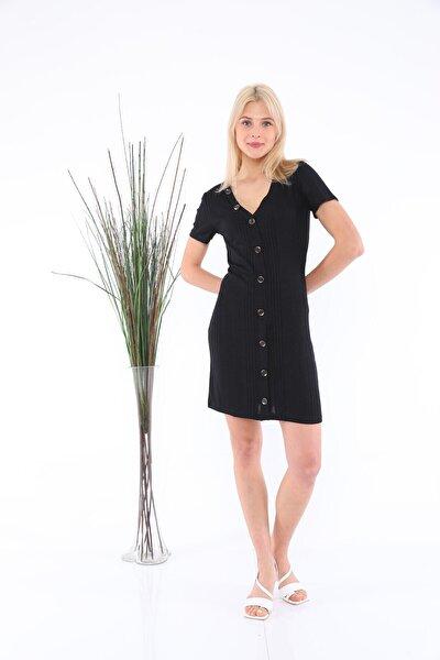 Kadın Siyah Önden Düğmeli Elbise