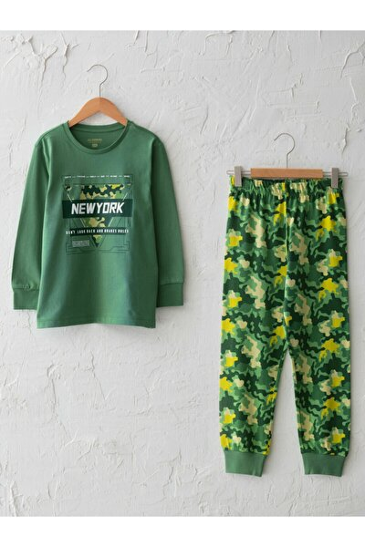 Erkek Çocuk Yeşil Pamuklu Pijama Takım