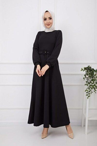 Kadın Kemerli Skuba Krep Kloş Elbise