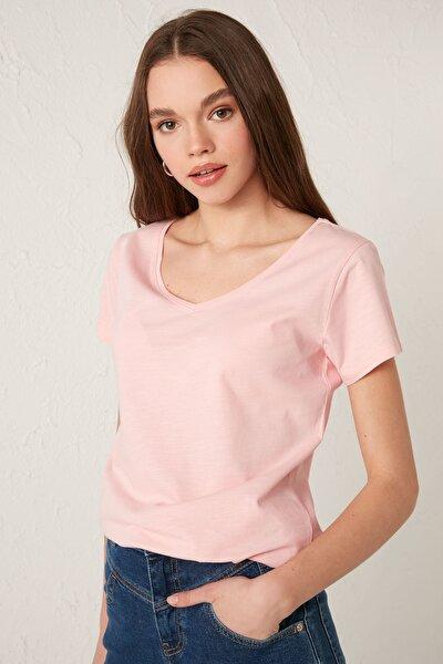 Kadın Parlak Pembe Tişört