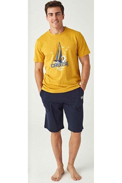 Erkek Sarı T-shirt Şort Takım