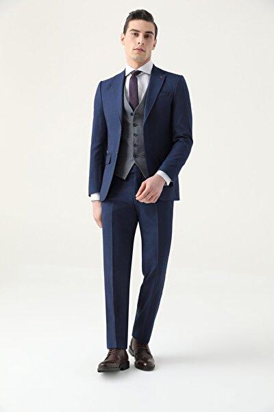 Erkek Lacivert Slim Fit Armürlü Kombinli Takım Elbise