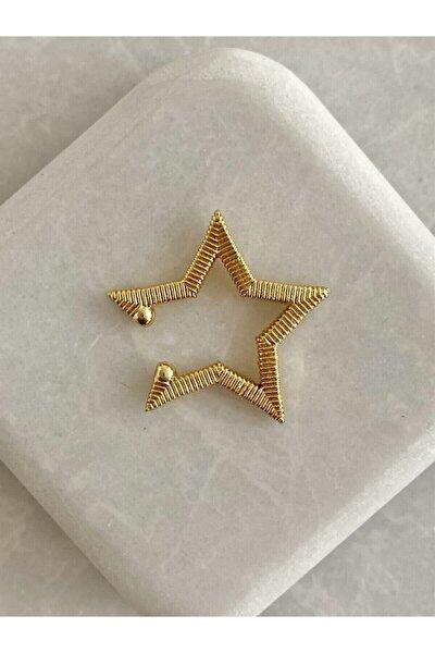 Gold Tırtıklı Yıldız Kıkırdak Küpe