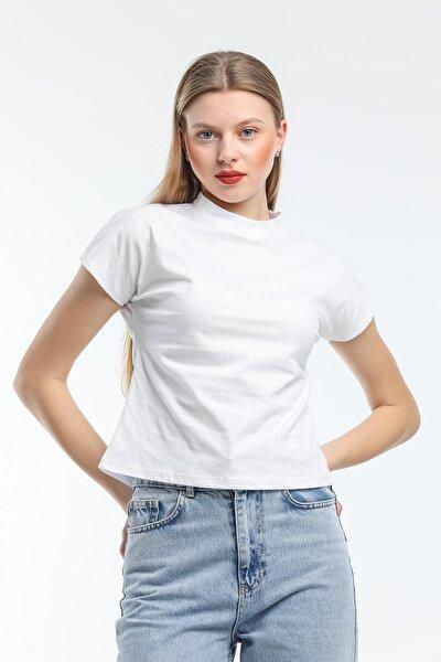 Kadın Dik Yaka Kısa Kollu T-shirt