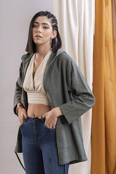 Kadın Haki Kuşaklı Keten Ceket