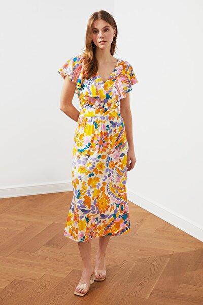 Çok Renkli Volanlı Desenli Elbise TWOSS21EL0785