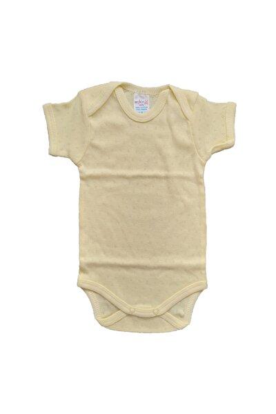 Şkr Yarım Kol Düz Renkli Jakarlı Nefes Alan Kumaştan %100 Pamuklu Kız Ve Erkek Bebek Body Zıbın