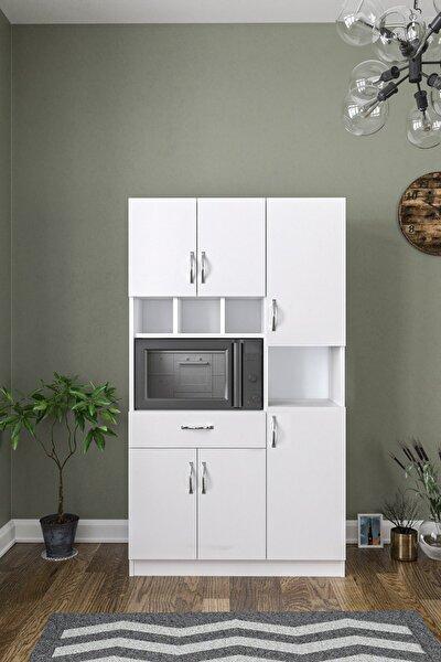 Anka Beyaz Çok Amaçlı Mutfak Dolabı & Banyo Dolabı 6 Kapaklı, 1 Çekmeceli