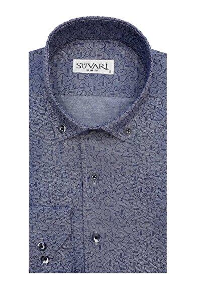 Slim Fit Baskılı Mavi Gömlek