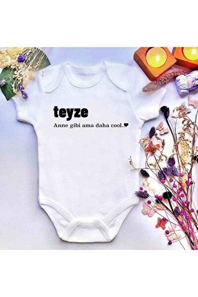 Unisex Bebek Teyze Anne Gibi Ama Daha Cool.. Baskılı %100 Pamuklu Çıtçıtlı Body Zıbın
