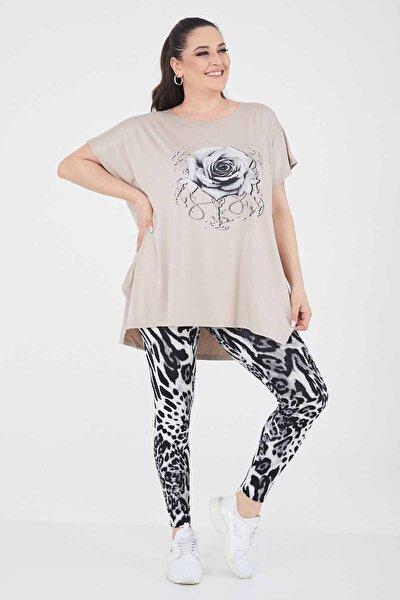 Kadın Bej Büyük Beden Salaş Gül Desenli T-shirt