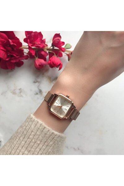 Minimal Kare Rose Gümüş Hasır Kordon Kadın Kol Saati