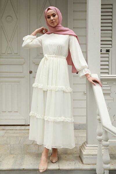 Fırfır Detaylı Kolları Büzgülü Şifon Elbise Beyaz