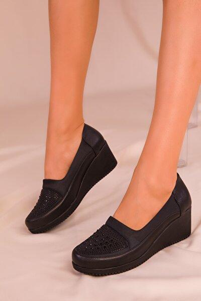 Siyah Kadın Dolgu Topuklu Ayakkabı 15979