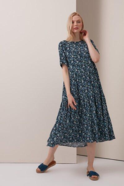 Çıtır Çiçekli Uzun Pamuklu Elbise - Mavi
