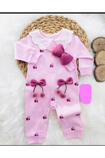 Pembe Kız Bebek Kiraz Baskılı %100 Pamuk Bandanalı Tulum