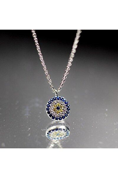 Kadın Zirkon Taşlı Nazar Boncuğu Model Gümüş Kolye 925 Ayar