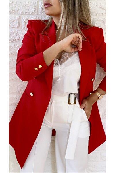 Uzun Gold Düğmeli Blazer Ceket Kırmızı