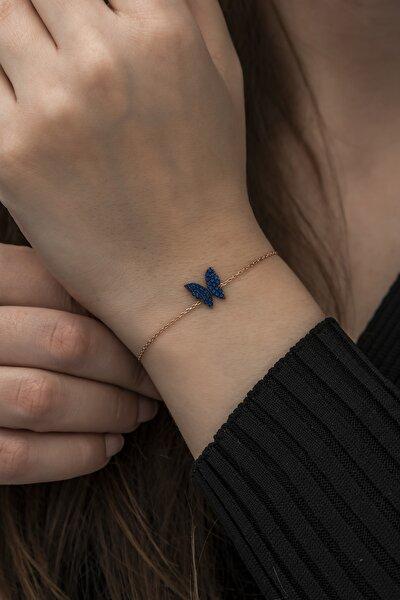 925 Ayar Minik Mavi Kelebek Bileklik Kadın Gümüş Bileklik