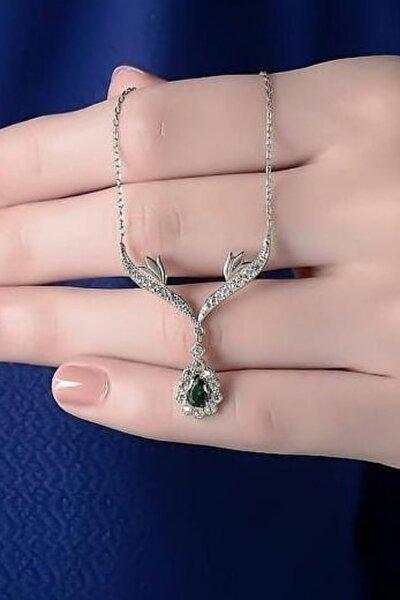 Kadın Yeşil Damla Taşlı 925 Ayar Gümüş  Kolye