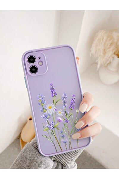 Iphone 11 Uyumlu Lila Kamera Lens Korumalı Lavender Desenli Lüx Telefon Kılıfı