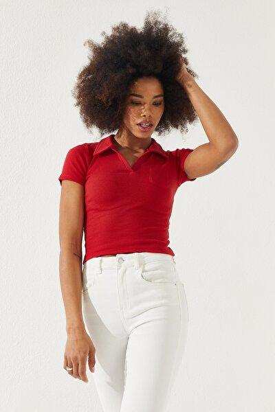 Kadın Polo Yaka Kısa Kol Bluz Kırmızı