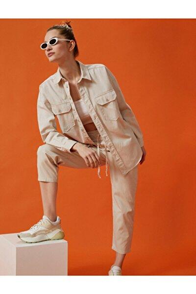 Kadın Gri Cigarette Pamuklu Pantolon