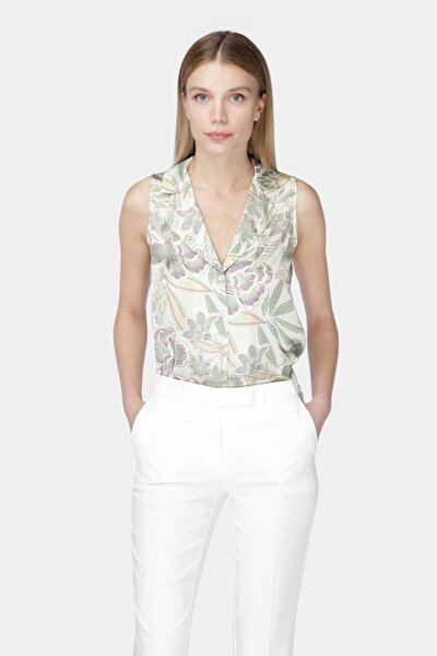 Kadın Ekru Lime Pembe Floral Desenli Kolsuz Bluz