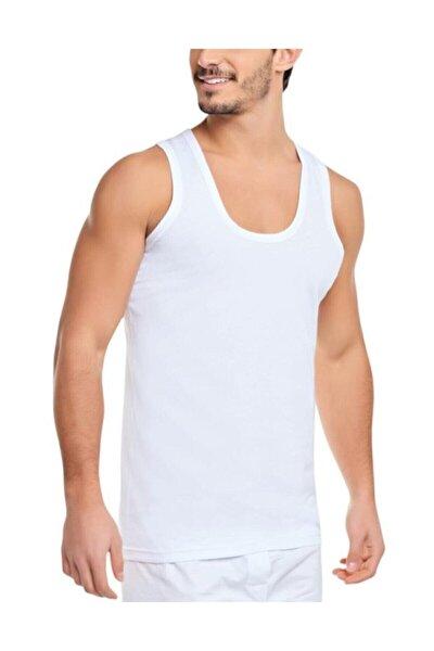 Erkek Beyaz 6'lı Paket Pamuklu Klasik Penye Atlet