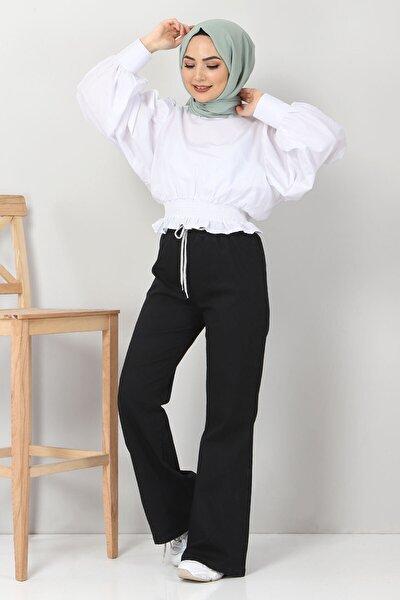 Kadın Siyah İspanyol Paça Kot Pantolon Tsd22014