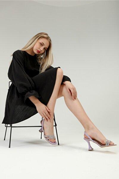Kadın Lila Taşlı Çift Bantlı  Topuklu Ayakkabı