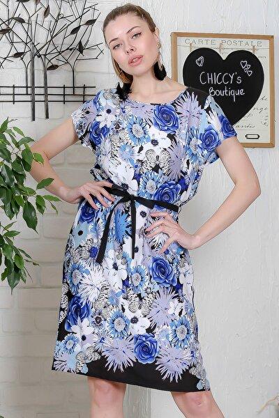 Kadın Beyaz-Mavi Gül Ve Kelebek Desenli Kısa Kollu Kuşaklı Dokuma Midi Elbise M10160000EL95373