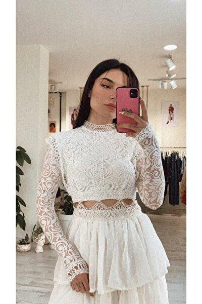Kadın Beyaz Dar Kalıp Dantel Güpür Dokuma Dekolteli Mini Gece Elbisesi