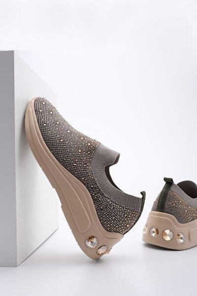 Kadın Yeşil Sneaker Dolgu Topuk Çorap Spor Ayakkabı Laner