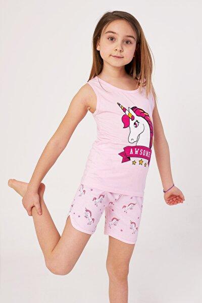 Kız Çocuk Şortlu Pijama Takımı Awsome Baskılı 4-9 Yaş
