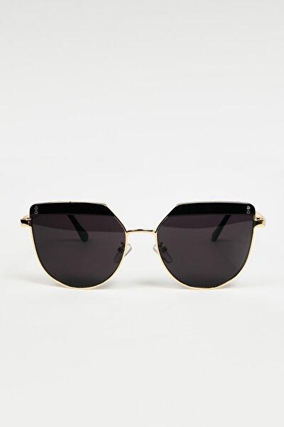 Kadın Siyah Gold Metal Çerçeveli Tasarım Güneş Gözlüğü