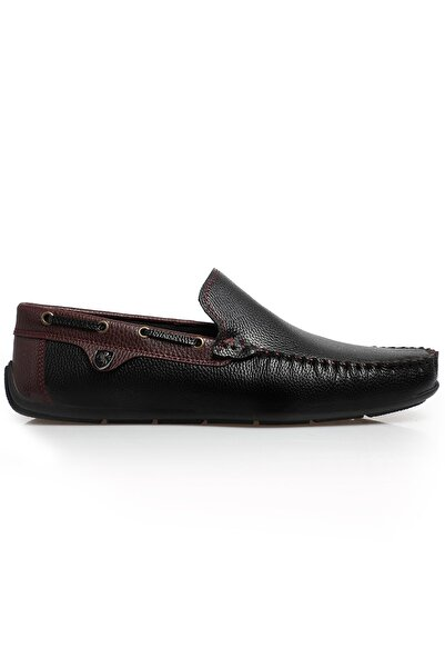Erkek Siyah Bordo Rog Loafer Ayakkabı