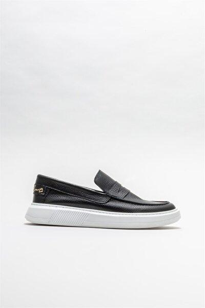 Erkek  Siyah Deri Günlük Loafer
