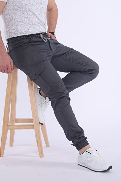 Erkek Gri Kargo Pantolon