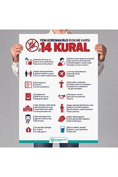 Korana Virüs 3 Lü Poster Baskı (14 Kural-maskesiz Girilmez-sosyal Mesafe)