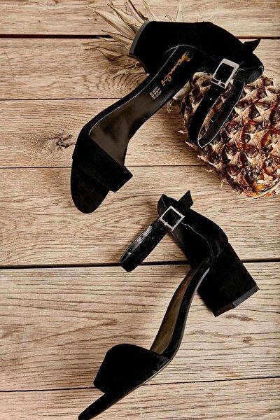 Siyah Süet Kadın Klasik Topuklu Ayakkabı K01503724072