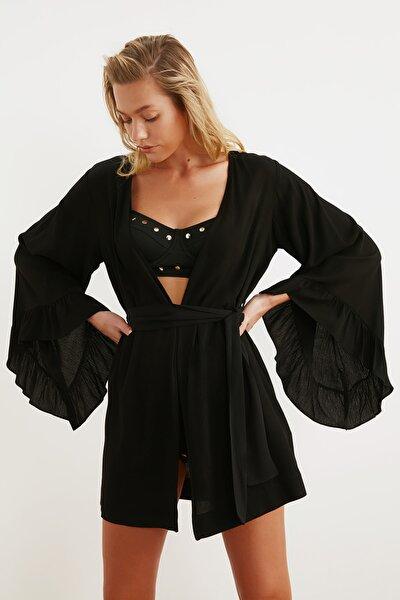 Siyah Volanlı Viskon  Kimono&Kaftan TBESS21KM0002