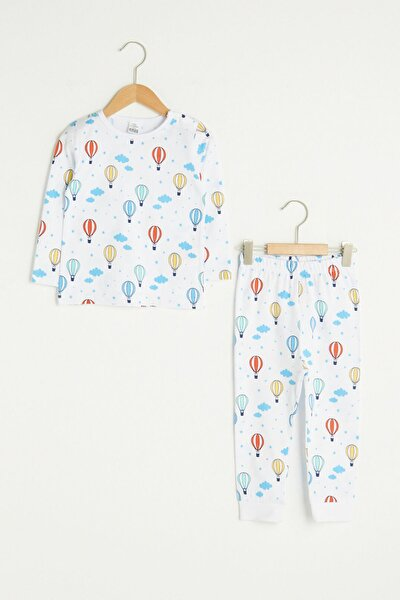 Erkek Bebek Beyaz Baskılı Lu7 Pijama Takımı