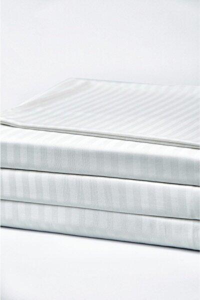 Beyaz Çizgili Saten Lastikli Çift Kişilik Çarşaf 160x200 Cm