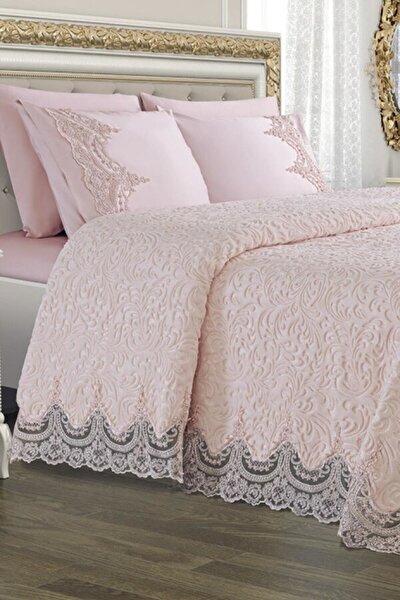 Golden Home Fransız Güpürlü Battaniye Yatak Örtüsü Seti
