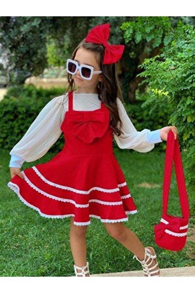 Kız Çocuk Kırmızı Bluzlu Çantalı Elbise