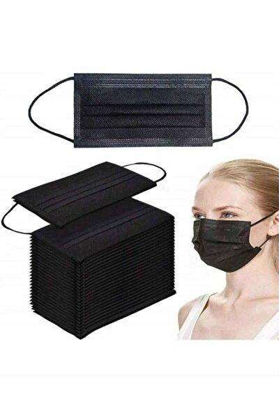 100 Adet 2 Kutu Siyah Telli 3 Katlı Tam Ultrasonik Cerrahi Maske Ce Belgeli